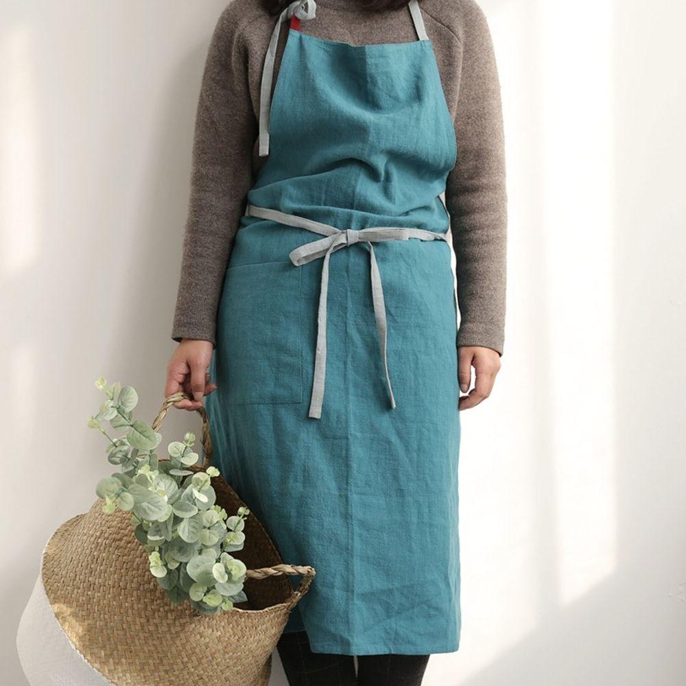 前繫帶雙色棉麻圍裙-湖水藍
