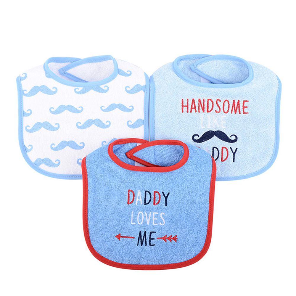 美國 Luvable Friends - 嬰幼兒雙層吸水口水巾圍兜3入組-爸比愛我