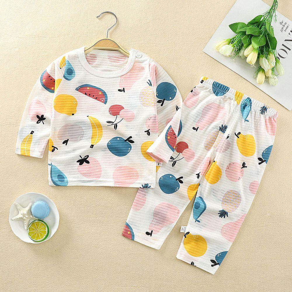 超薄款竹節棉睡衣家居服長袖套裝-水果派對