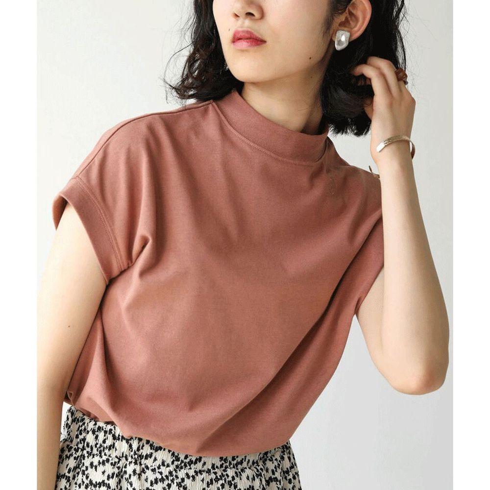 日本 Bou Jeloud - 美國棉修身顯瘦一分袖上衣-磚橘紅