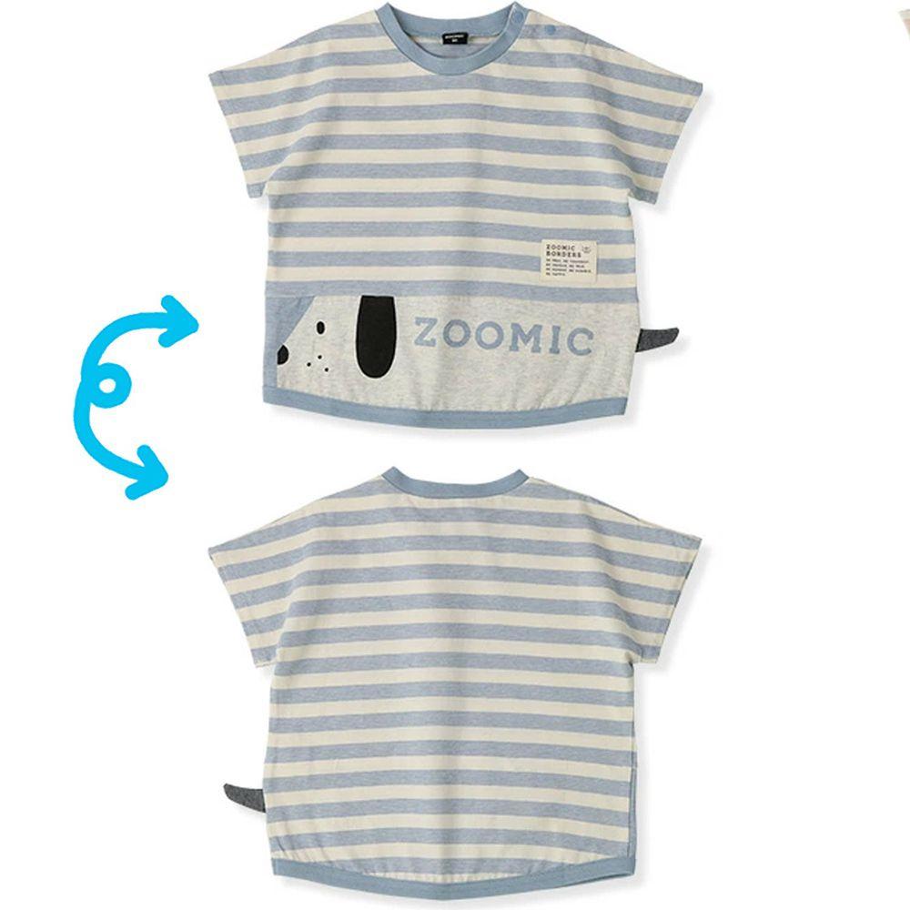 日本 ZOOLAND - 拼接短T-條紋長條小狗-灰藍