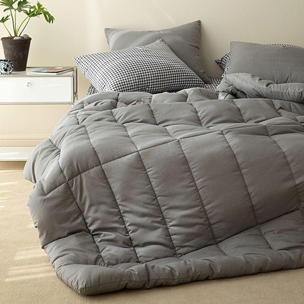 韓國製 - 可水洗超細纖維桃皮感棉被(無枕套)-迷霧灰