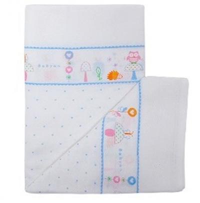 100%純棉澡巾(5入)-粉藍小鳥 (90x90cm)