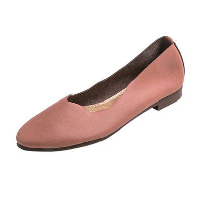 日本製 仿皮顯瘦尖頭柔軟波浪平底包鞋