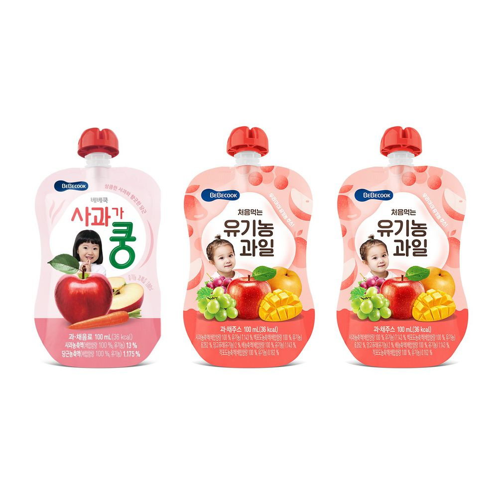BEBECOOK 寶膳 - 智慧媽媽 嬰幼兒果汁系列-中寶寶組 三入-蘋果紅蘿蔔7M*1+綜合果汁9M*2