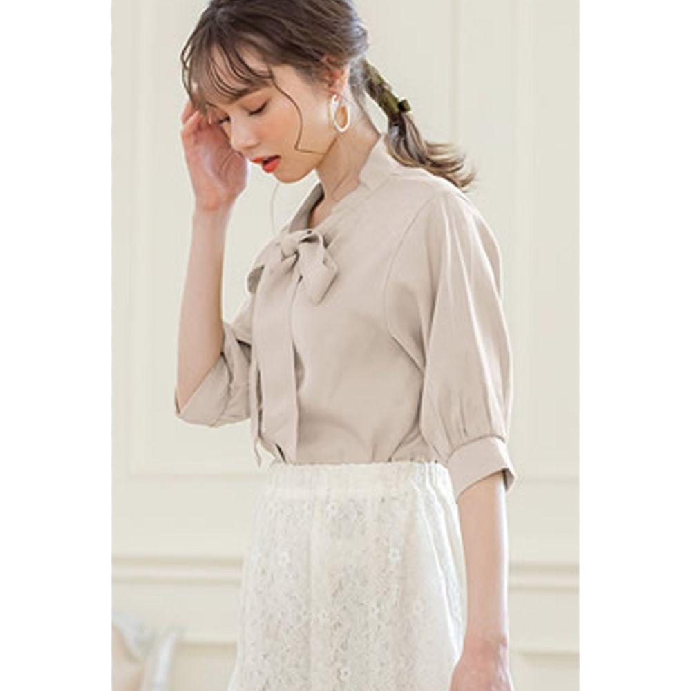 日本 GRL - 大蝴蝶領結五分袖雪紡襯衫-氣質杏 (F)