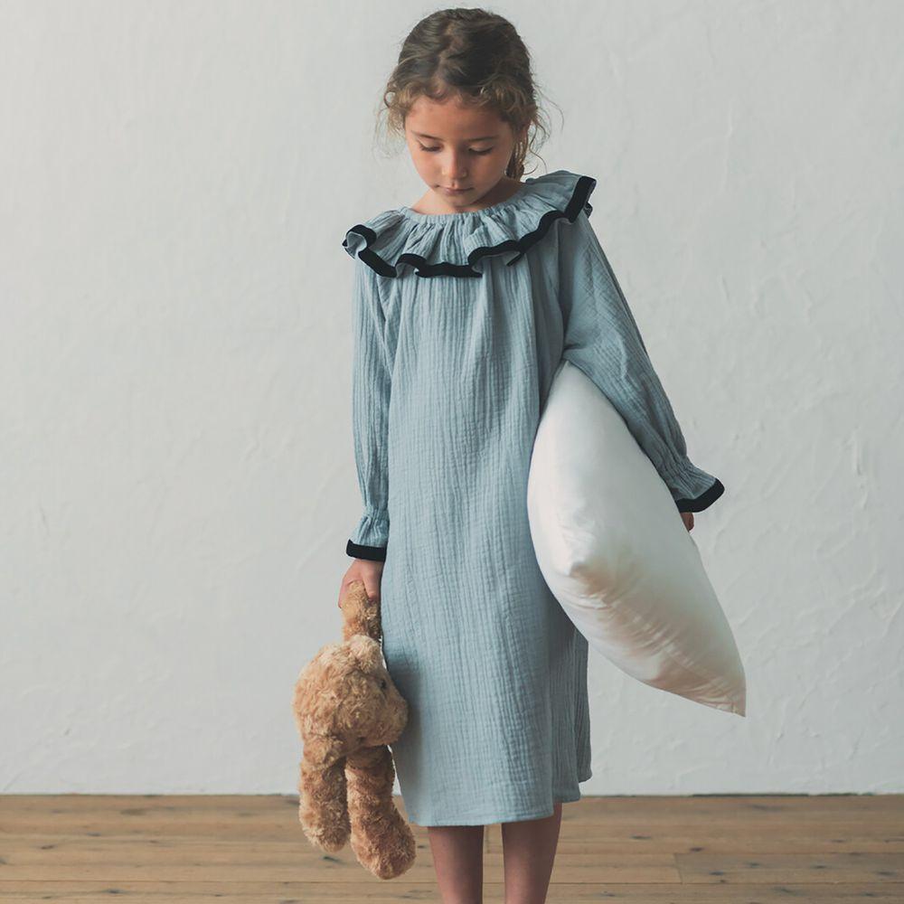 日本 riziere - 純棉 荷葉領撞色長袖洋裝-典雅灰