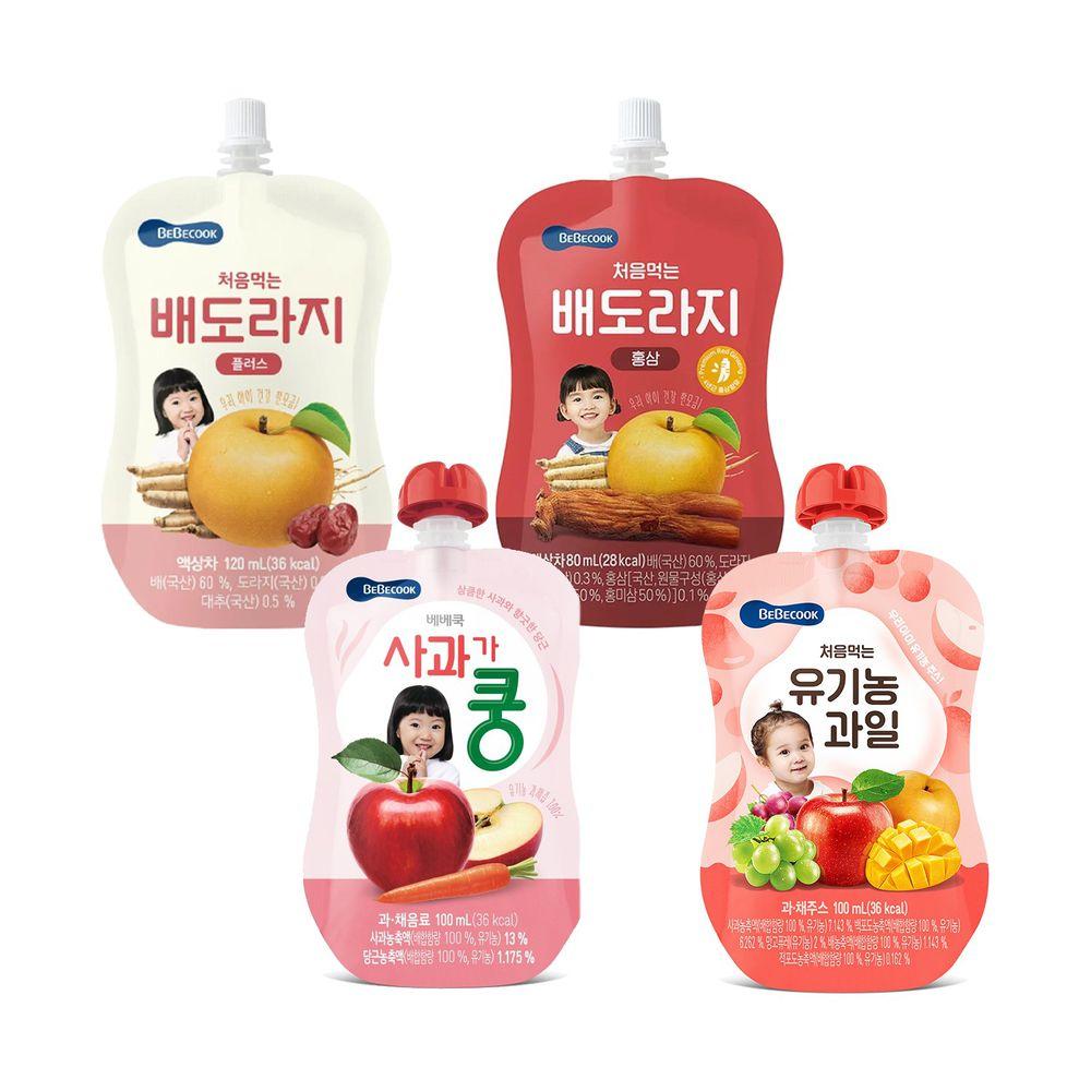 BEBECOOK 寶膳 - 智慧媽媽 嬰幼兒果汁全系列組-四入-蘋果紅蘿蔔汁7M*1+ 綜合果汁9M*1+ 雪梨桔梗汁12M*1+雪梨紅棗桔梗汁12M*1