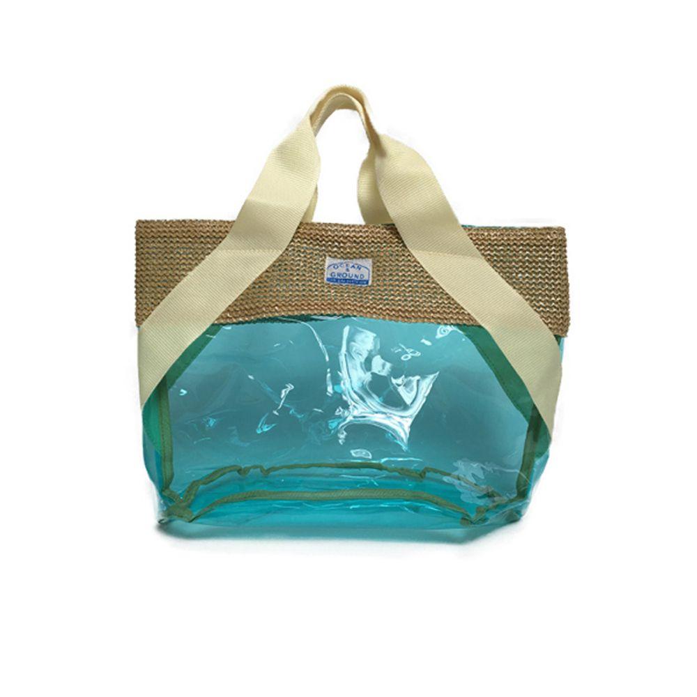 日本 OCEAN&GROUND - 透明PVC防水手提袋-藤編拼接系列-藍綠 BL (27x33x20.5cm)