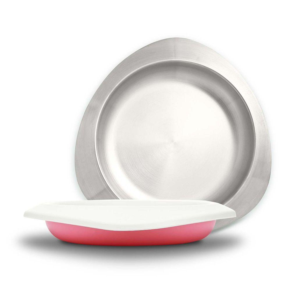 VIIDA - Soufflé抗菌不鏽鋼兒童餐盤-餐盤-粉