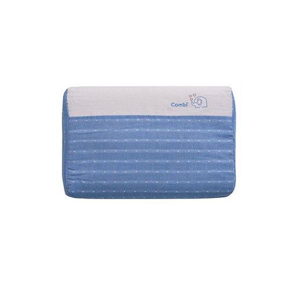 日本 Combi - 和風紗輕柔感透氣嬰兒護頸枕-枕心可水洗系列-藍色 (36x25x5.6cm)-6個月起