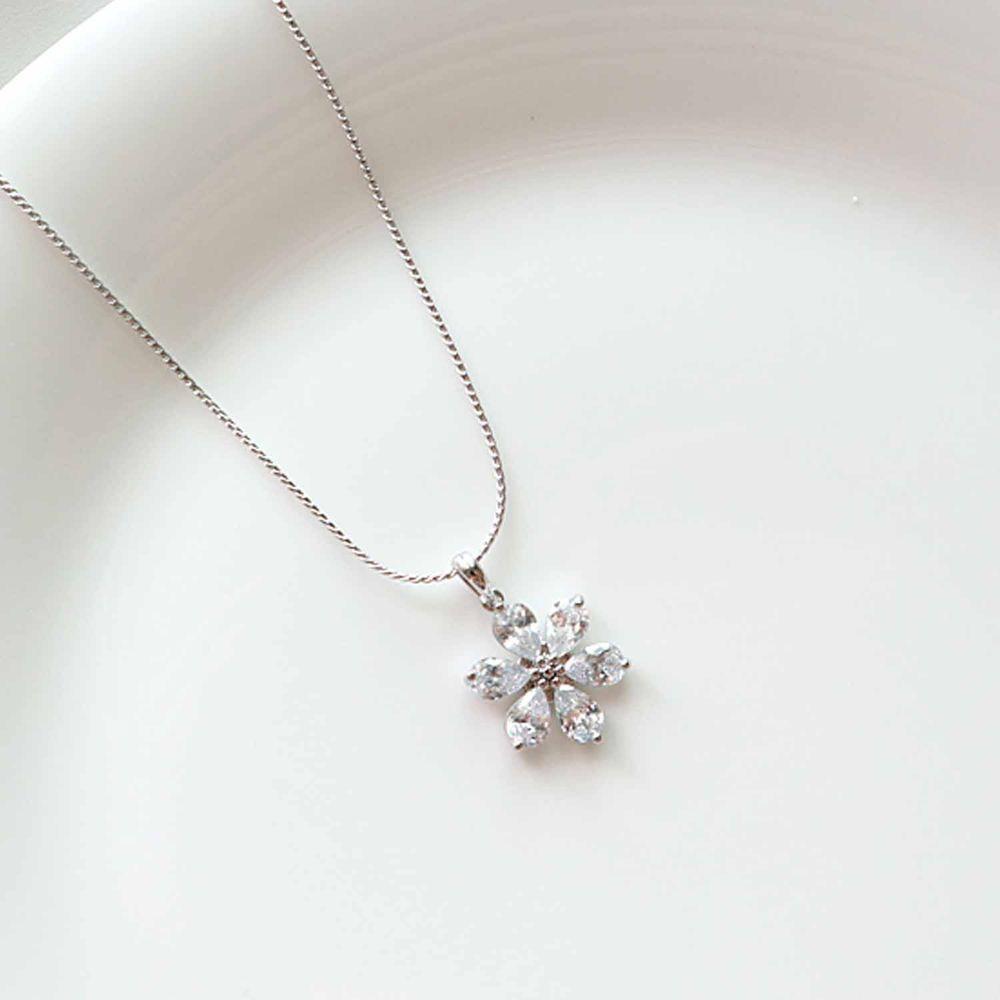 韓國製 - (925純銀)幸運之花項鍊-銀