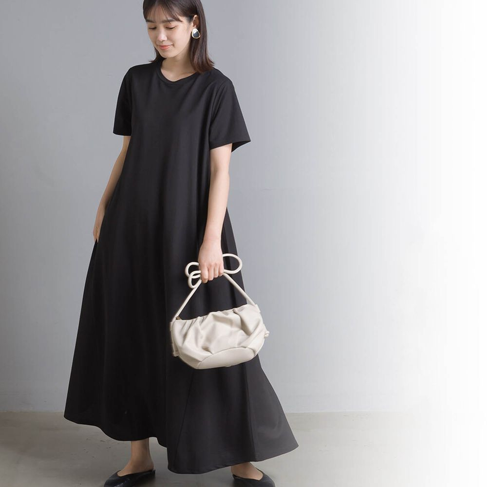 日本女裝代購 - 接觸冷感 短袖洋裝-黑