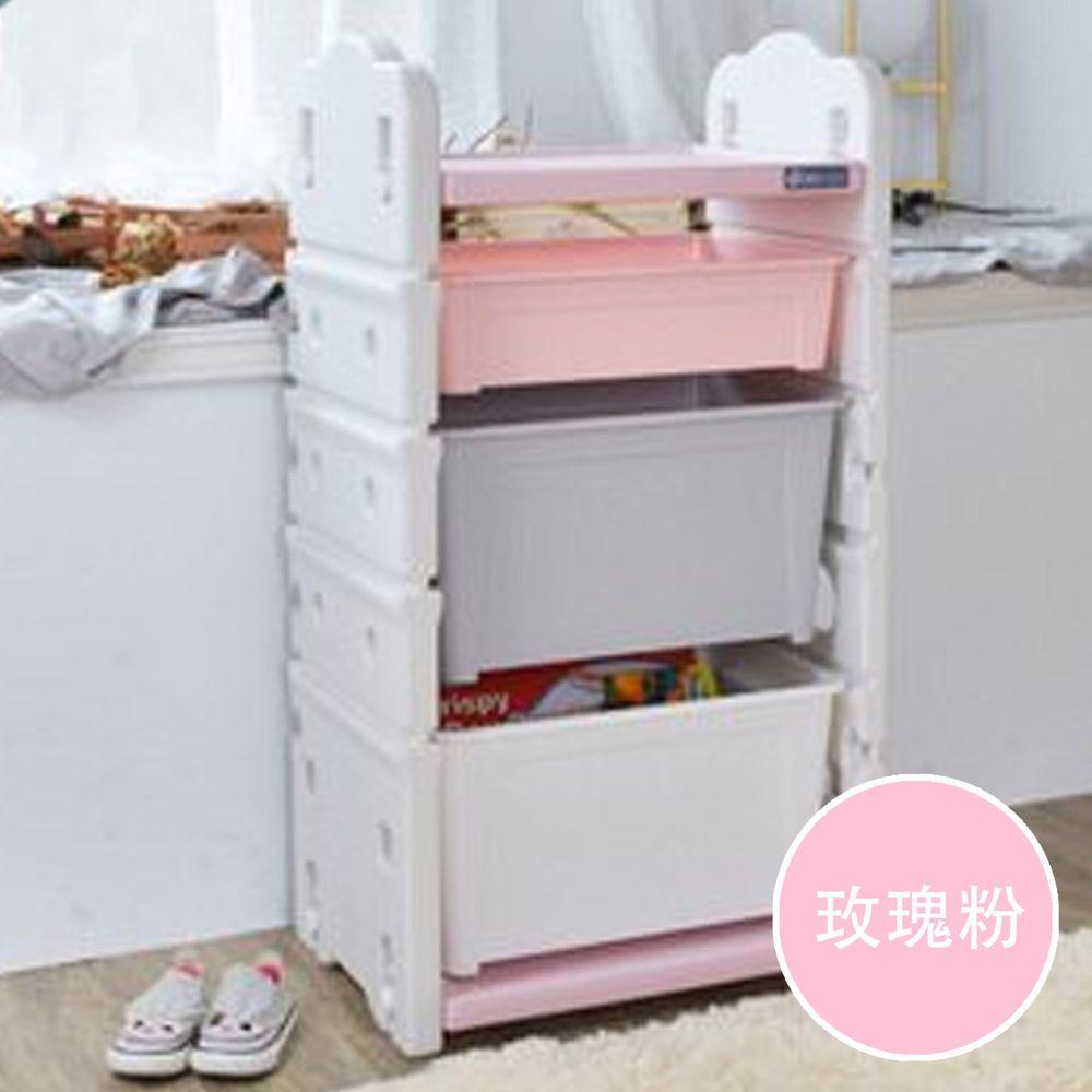 家窩 - 伊格玩具直取收納櫃(2大1小收納箱)-DIY-玫瑰粉