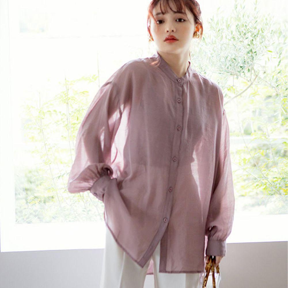 日本 GRL - 絲滑薄透感寬版長袖上衣/罩衫/外套-星塵粉