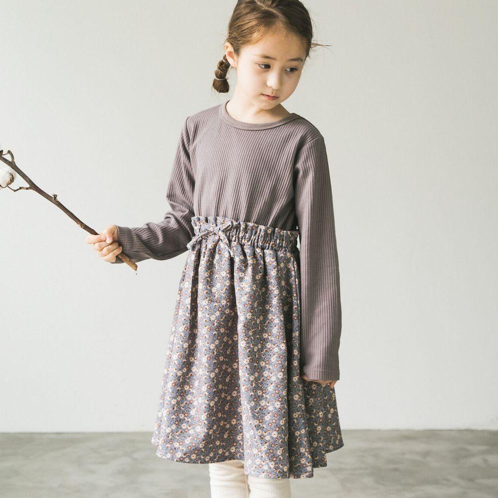 日本 PAIRMANON - 上下拼接鬆餅紋長袖洋裝-碎花-摩卡X灰藍