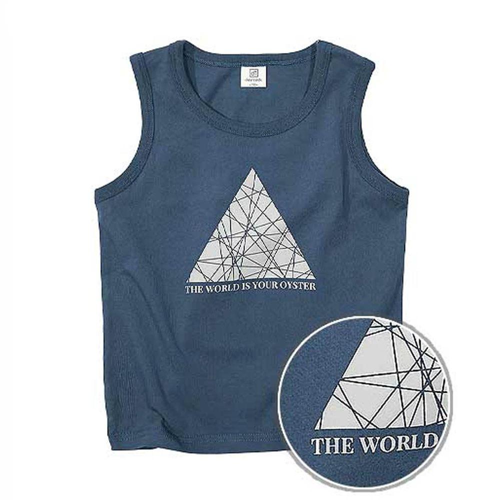 日本 devirock - 純棉 定番百搭印花無袖背心-三角魔力-深藍