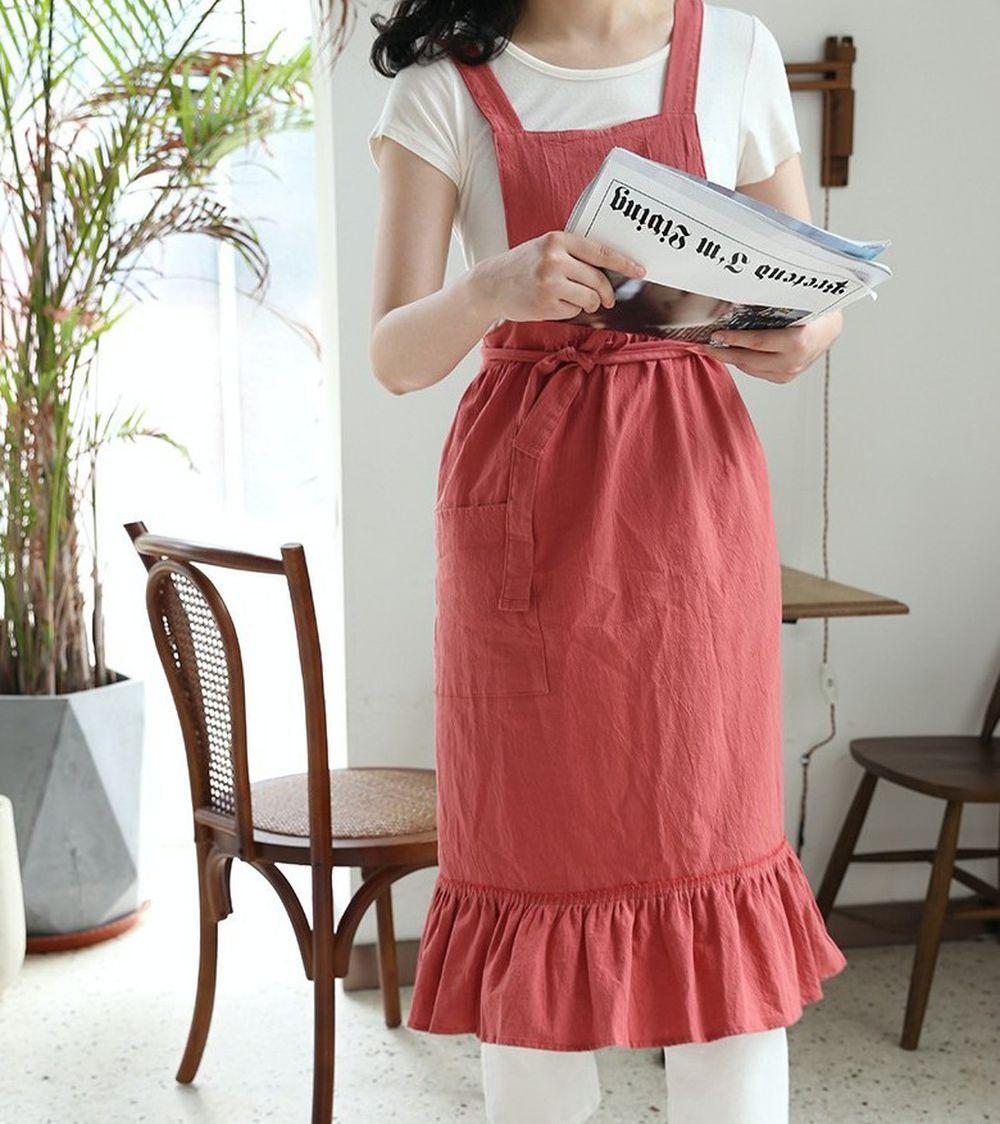韓系荷葉裙擺花邊圍裙-西瓜紅