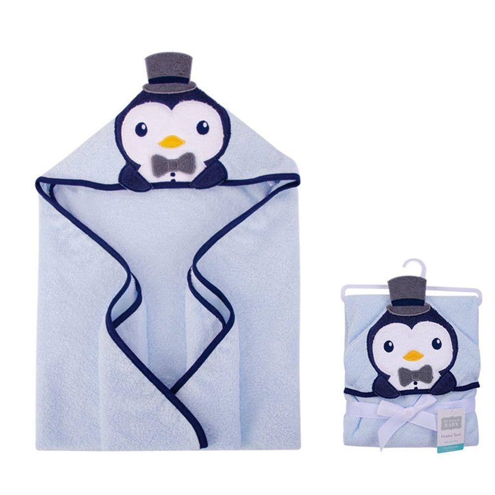 美國 Luvable Friends - 100% 純棉嬰幼兒動物造型連帽浴巾/包巾-藍企鵝
