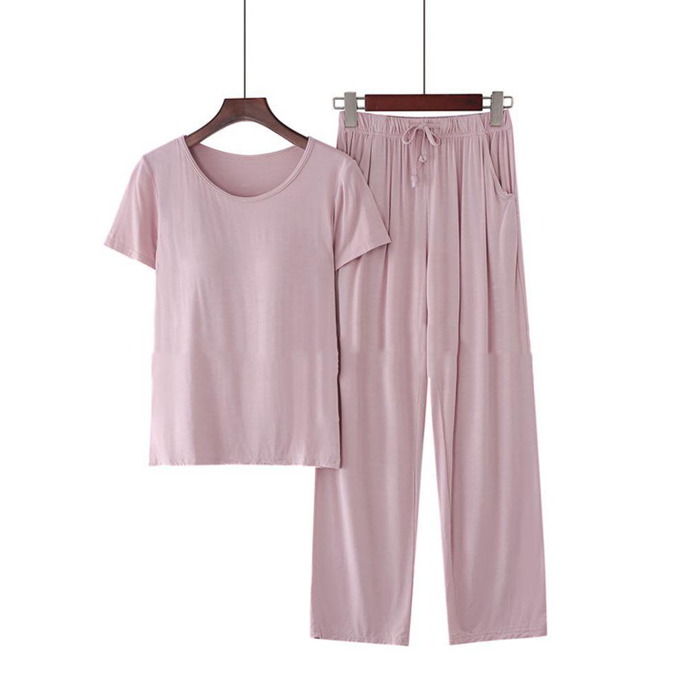 莫代爾柔軟涼感Bra T家居服-長褲套裝-淺粉色