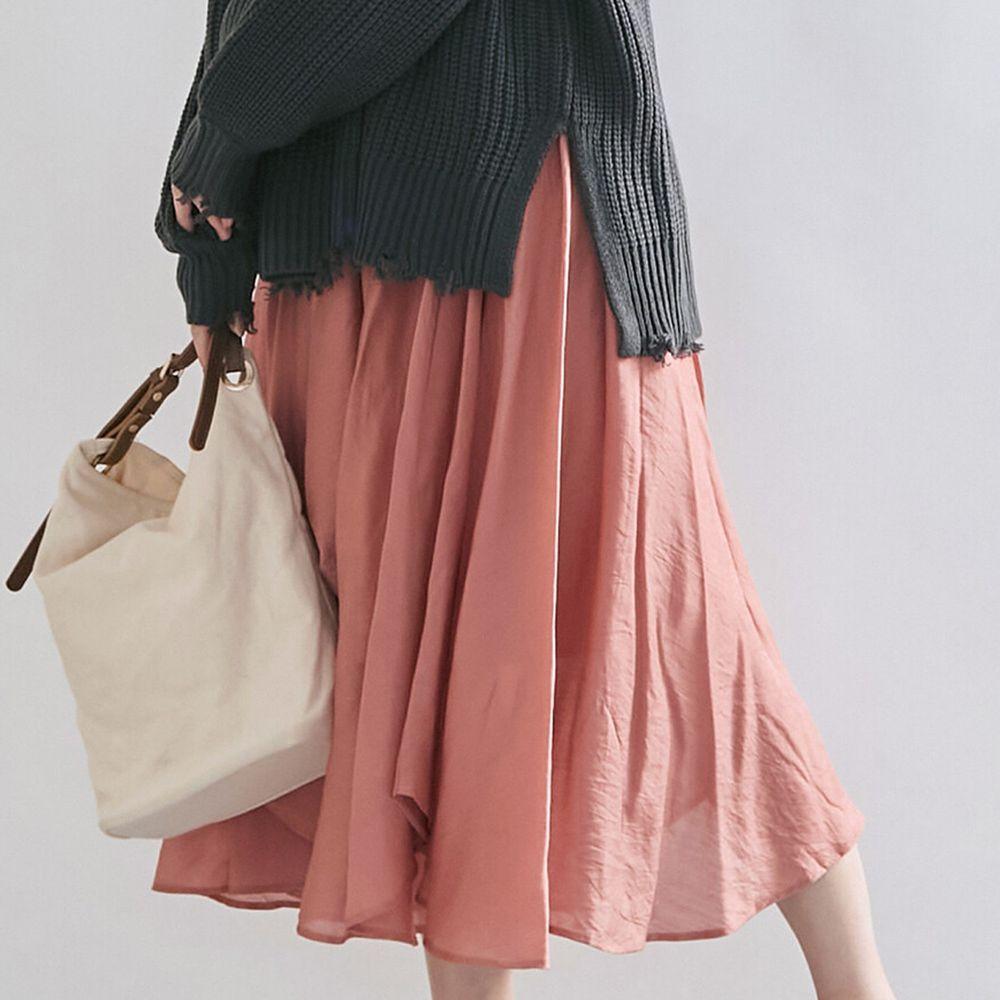 日本女裝代購 - 光澤感鬱金香長裙-橘 (M(Free size))