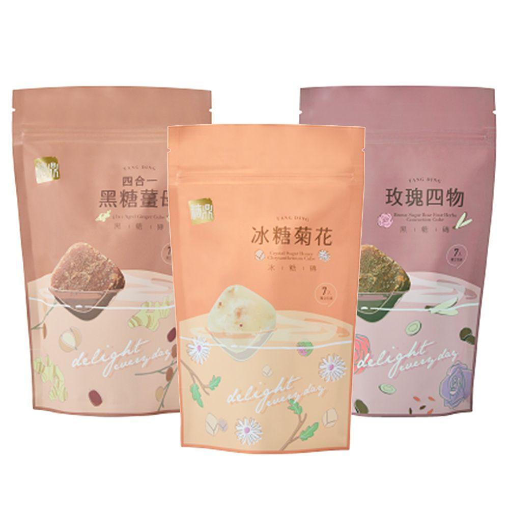 糖鼎黑糖磚 - 經期呵護組:四合一黑糖薑母(小)+黑糖玫瑰四物(小)+冰糖菊花(小)-30g*7入/包*3