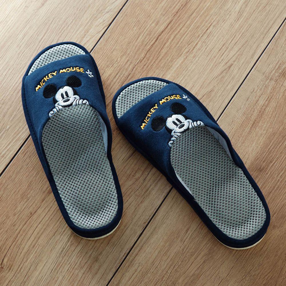 日本千趣會 - 迪士尼刺繡透氣鞋墊室內拖-米奇探頭-深藍