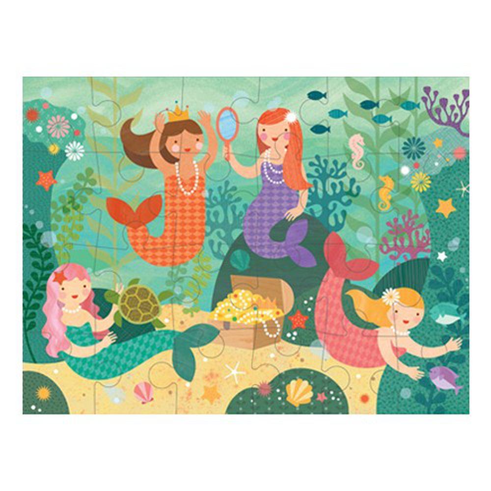 美國 Petit Collage - 地板拼圖-歡樂美人魚-24片