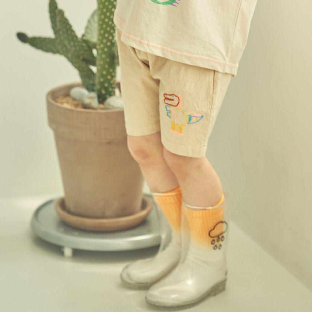 韓國 Mimico - 線條恐龍鬆緊褲頭哈倫褲-杏