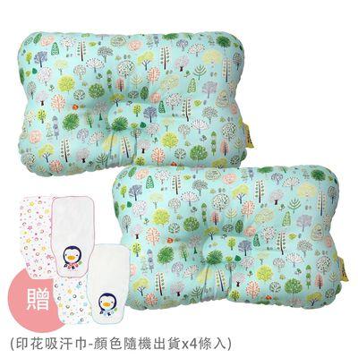 Breeze 透氣雲朵枕/護頭枕-2 入免運組-森林公園x2-買贈印花吸汗巾-顏色隨機出貨x4條入
