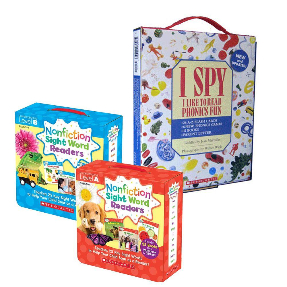 Scholastic - 【超值合購】I Spy Phonics Box 找找看單字+Nonfiction Sight Word Readers Level A+B