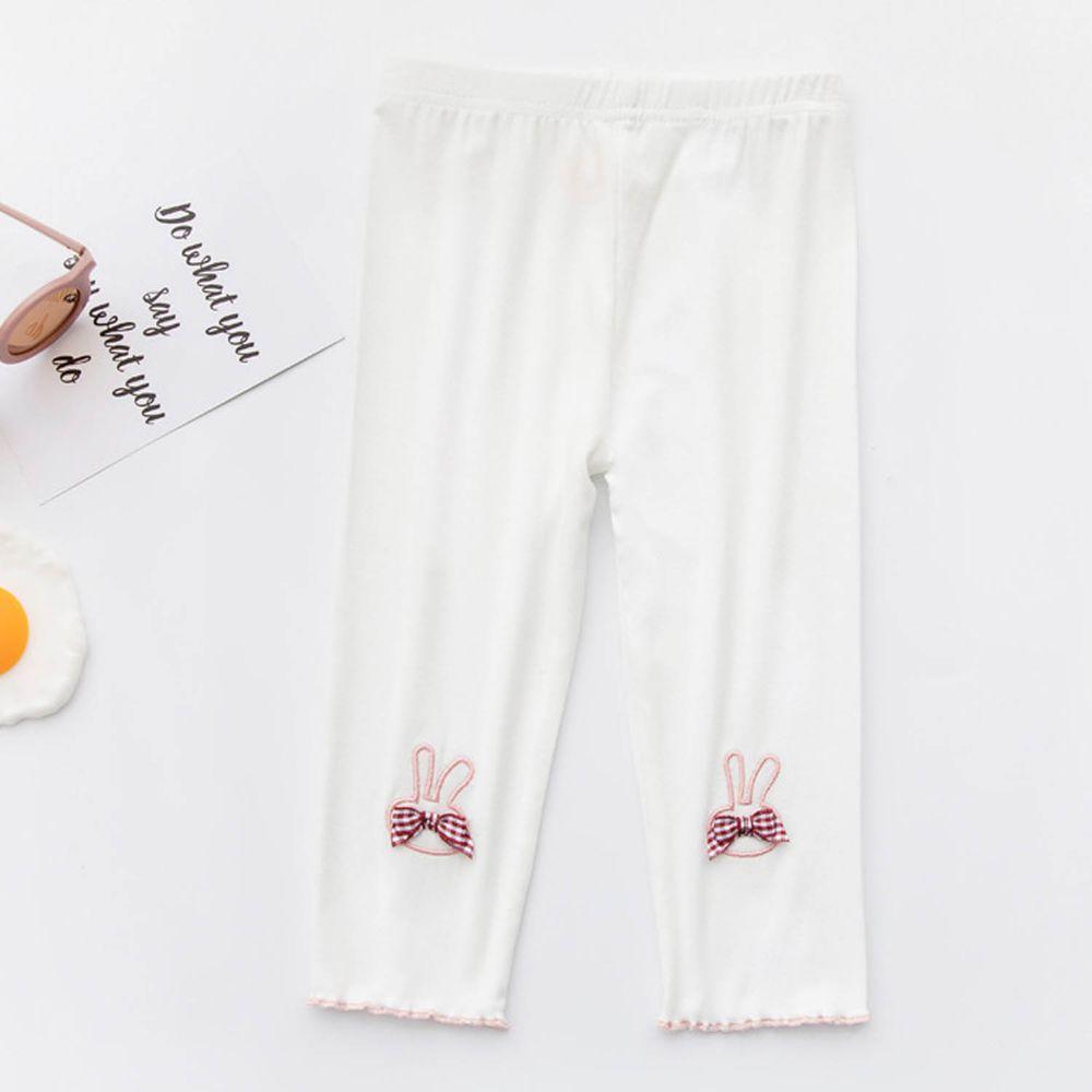 FANMOU - 七分內搭褲(莫代爾)-小兔-白色