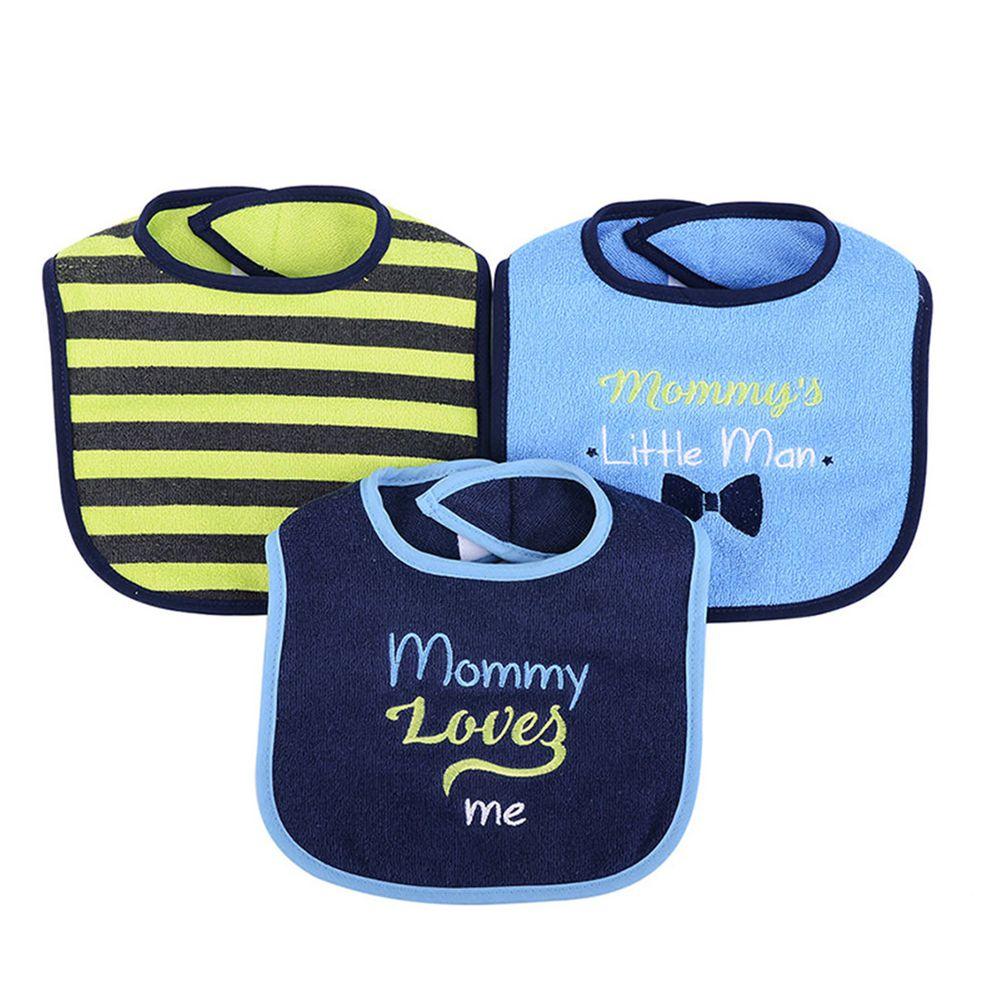美國 Luvable Friends - 嬰幼兒雙層吸水口水巾圍兜3入組-媽咪愛我