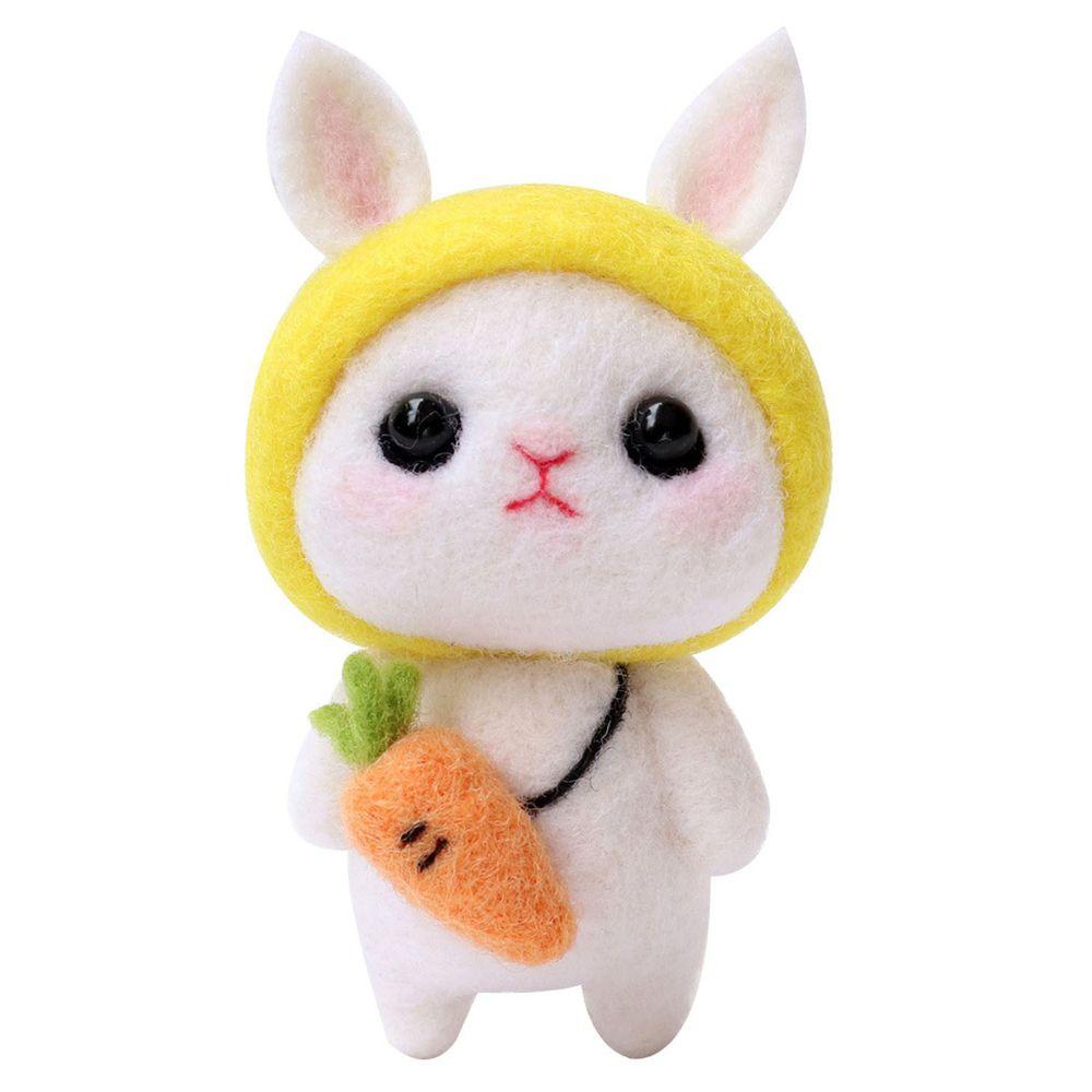 Diy療癒兔子羊毛氈戳戳樂材料包-黃色兔兔
