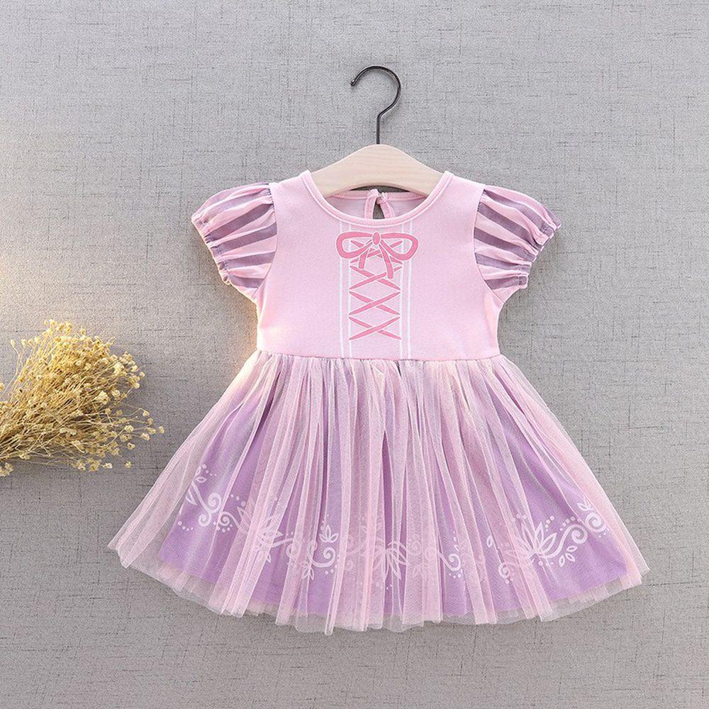 短袖造型公主裙-紫色