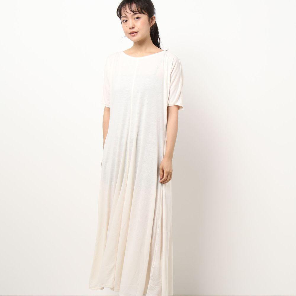 日本 Riche Glamour - 顯瘦抓皺袖美背短袖休閑洋裝-米