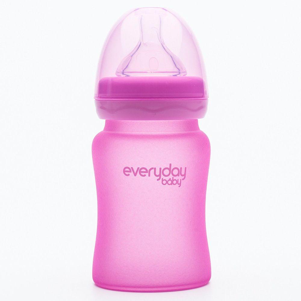 瑞典 everyday baby - MilkHero 寬口徑防護感溫變色玻璃奶瓶-櫻花粉 (150ml)-185g