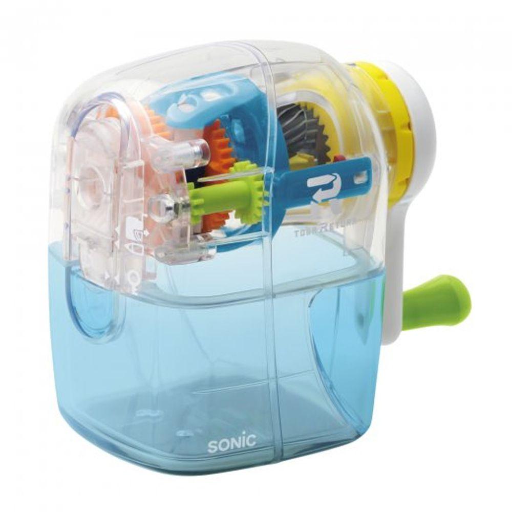 日本 SONIC - 自動彈出手動削鉛筆機-限定款-透明水藍