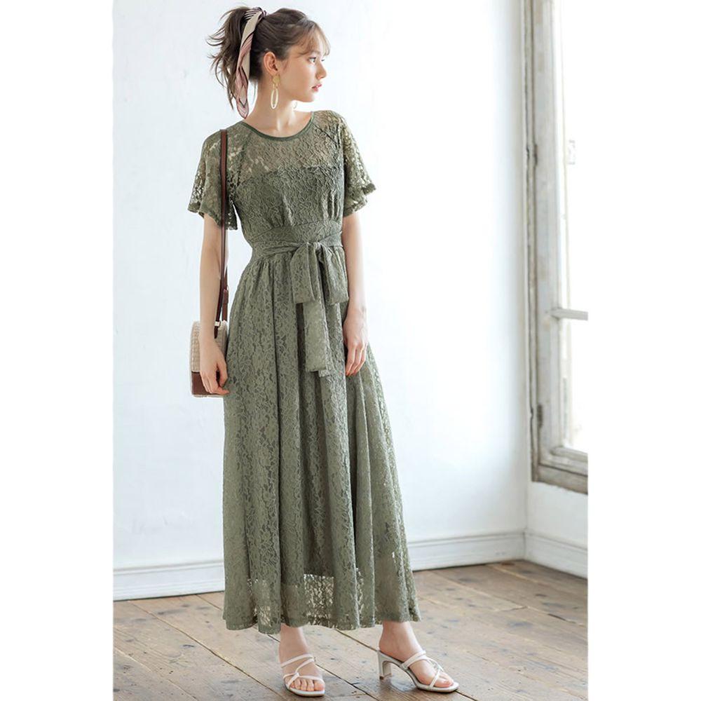 日本 GRL - 優雅蕾絲腰間綁帶短袖洋裝-青春綠