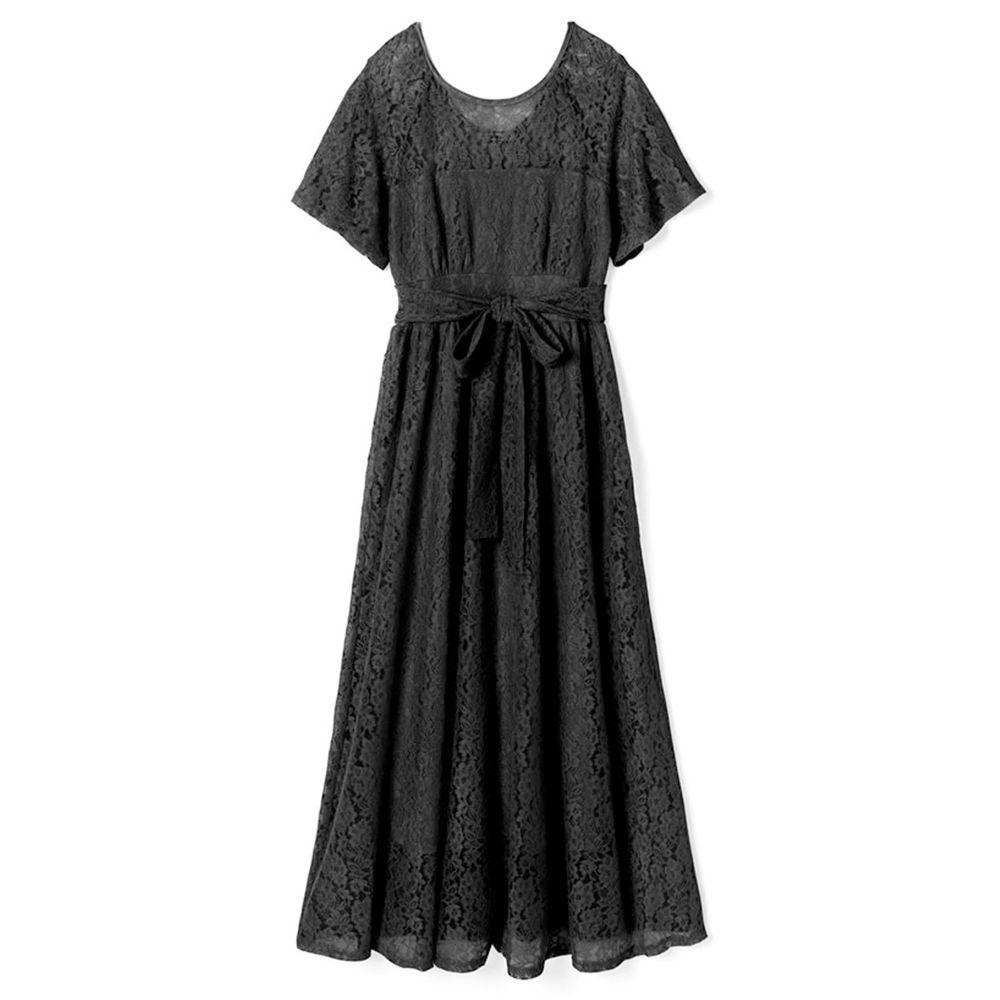 日本 GRL - 優雅蕾絲腰間綁帶短袖洋裝-時尚黑