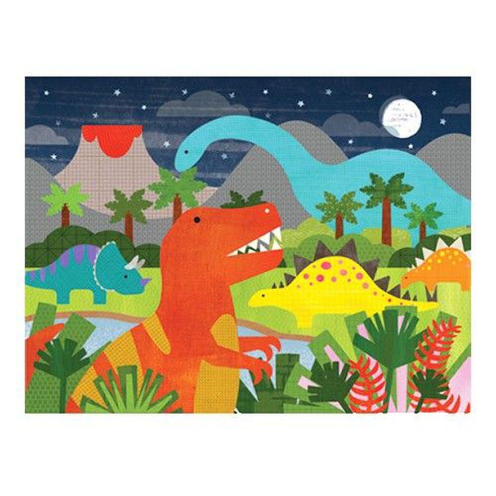 美國 Petit Collage - 地板拼圖-恐龍世界-24片