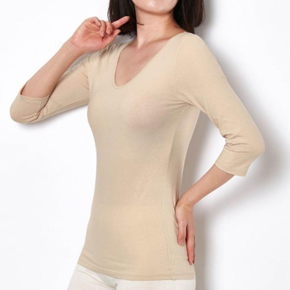 日本千趣會 - 95%棉 (媽媽)前後V領七分袖發熱衣-沙杏