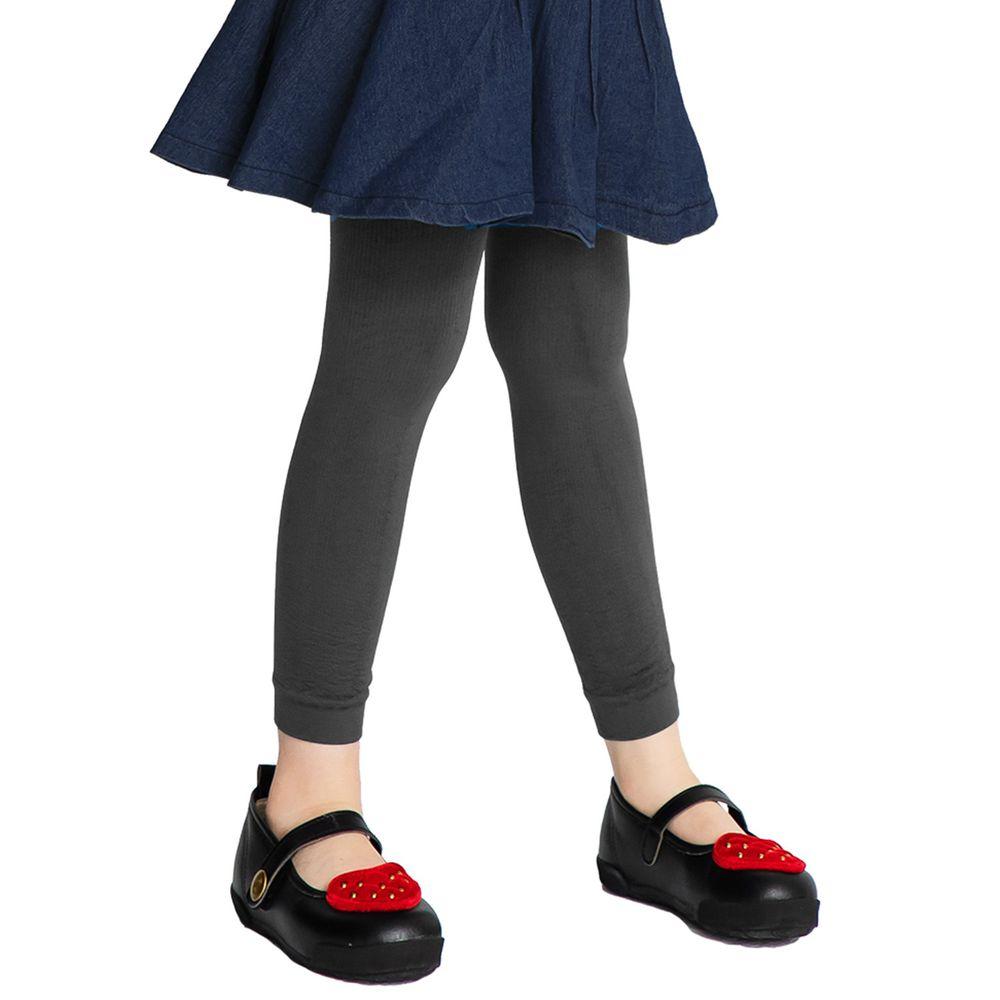 GIAT - 兒童保暖內刷毛褲襪(九分款)-深灰