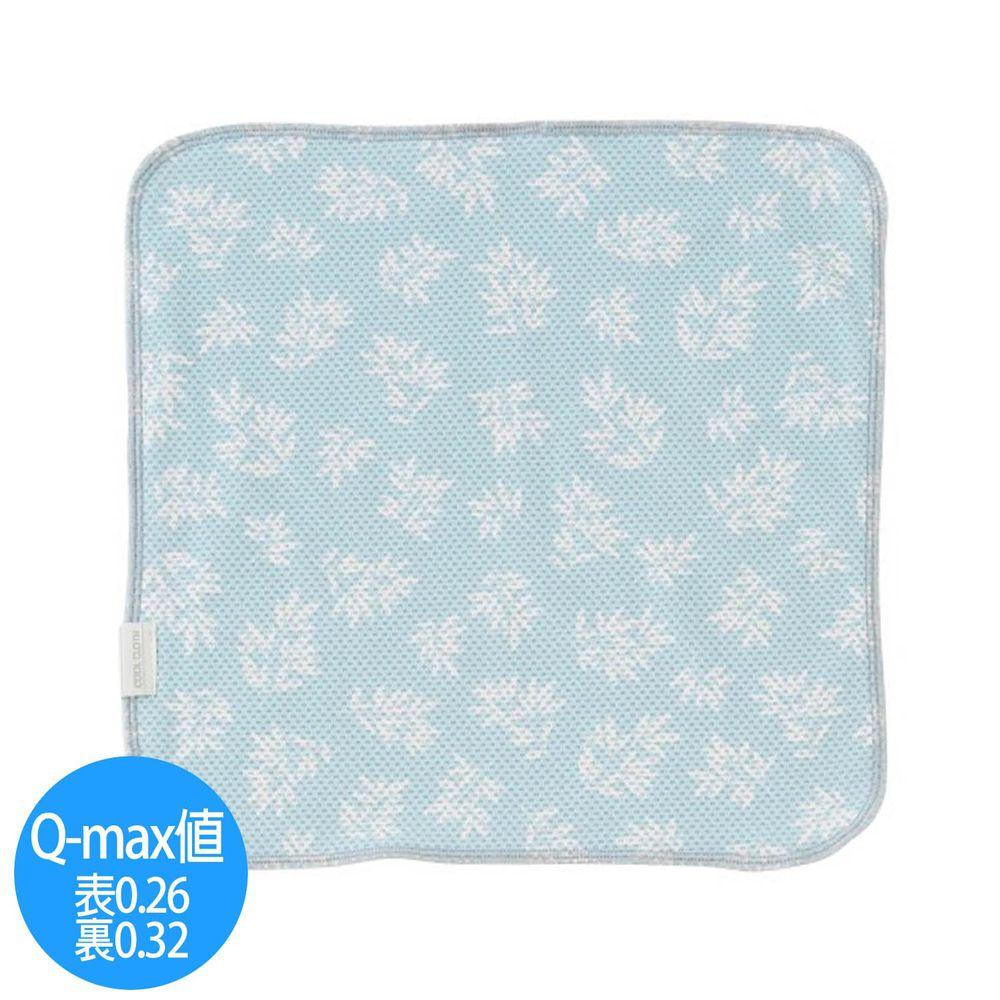 日本小泉 - UV cut 90% 接觸冷感 水涼感手帕-清新樹葉-天藍 (23x23cm)