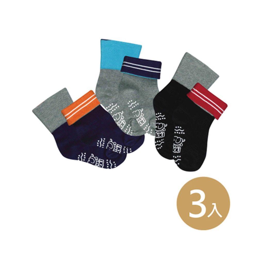 貝柔 Peilou - 貝寶萊卡義式對目柔棉止滑寬口短襪-3色各1雙(黑/丈青/灰)