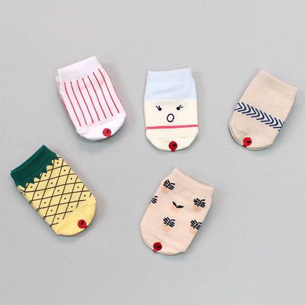 韓國 Kokacharm - 韓國製船型襪-五件組-Tropical socks