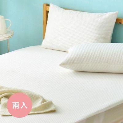 防蹣抗菌透氣防水信封式保潔枕套-純白品味-兩入