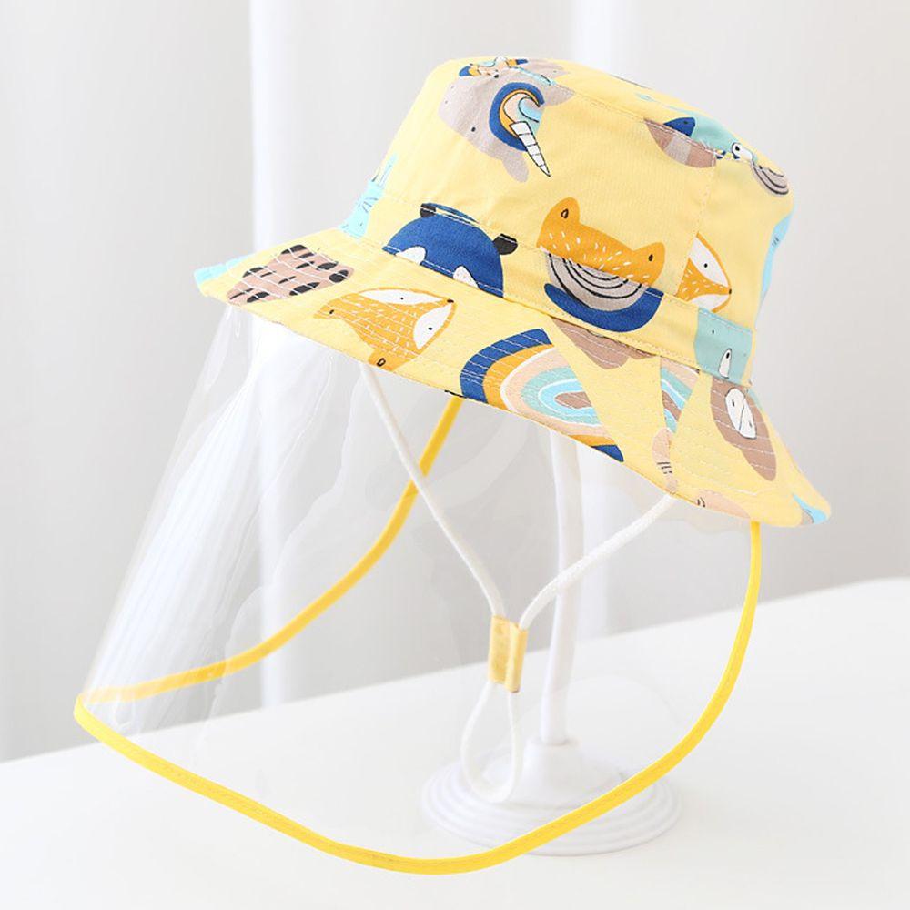 兒童防飛沫面罩遮陽漁夫帽-黃色狐狸-面罩可拆
