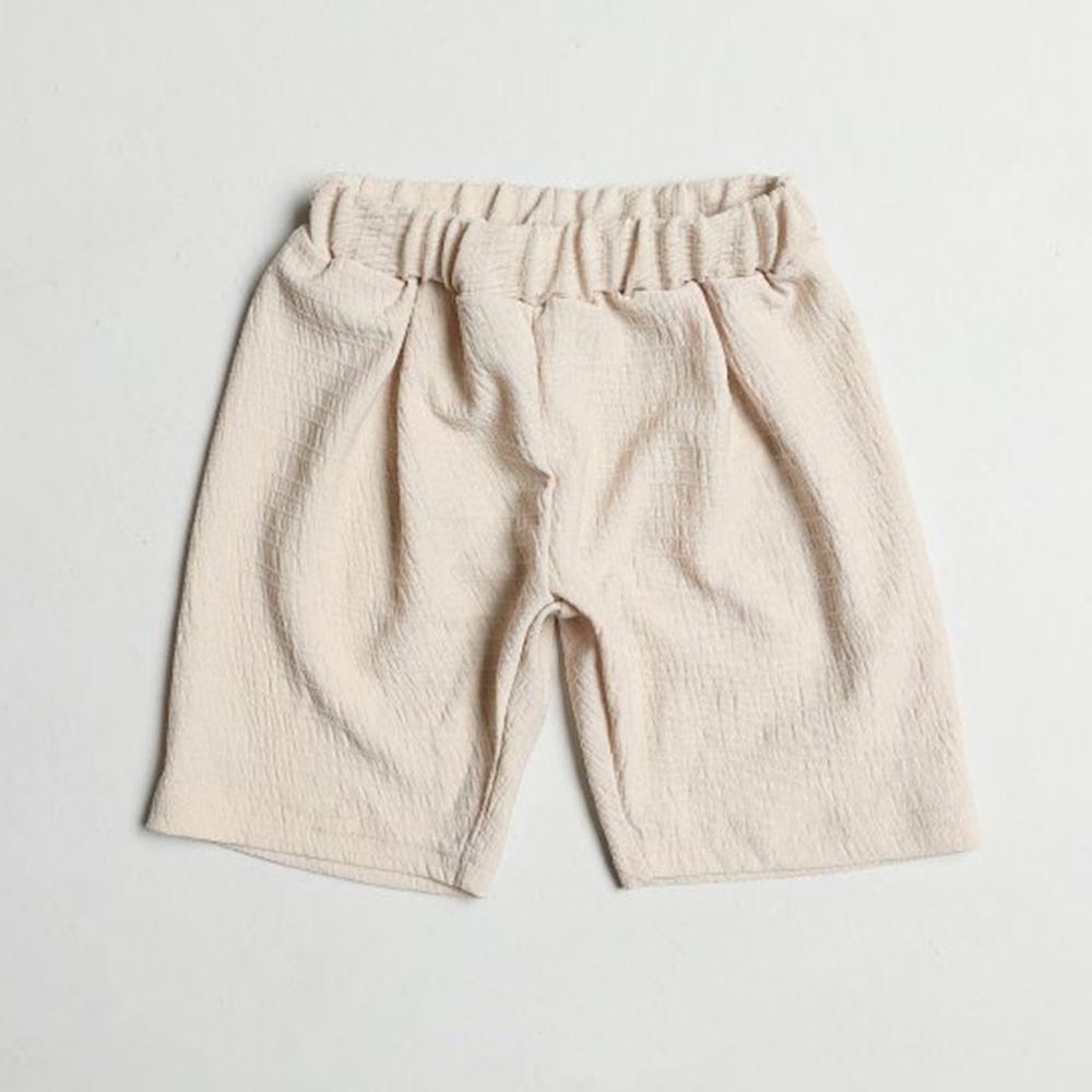 韓國製 - 皺摺感涼感短褲-杏