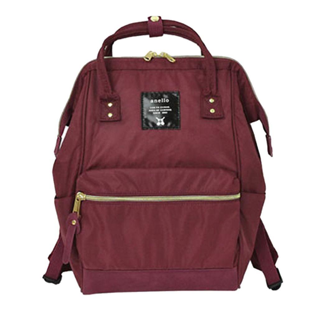 日本 Anello - 日本大開口高密度尼龍後背包-mini小尺寸-WI酒紅